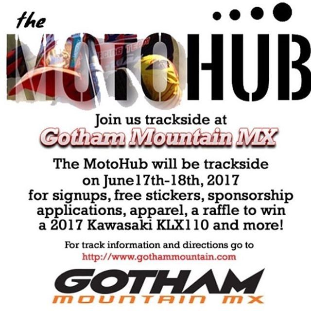 """Stop by The MotoHub booth this weekend at @gothammountainmx for free stickers, free raffles, a raffle for a 2017 KLX110 and more! #mx #moto #motocross #motolife #dirtbike #atv #supercross #supercrosslive #arenacross #fmx #enduro #trials #socialmedia #socialnetwork #themotohub #mxtrack #dirtbikes #gncc #gnccracing #endurocross #trackside #events #promotocross"" by @themotohub1. #이벤트 #show #parties #entertainment #catering #travelling #traveler #tourism #travelingram #igtravel #europe…"