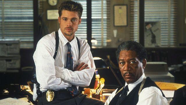 Top10: Dez Filmes Sobre Serial Killers Que Você Precisa Assistir. Cena do filme Seven - Os Sete Pecados Capitais, com Brad Pitt e Morgan Freeman