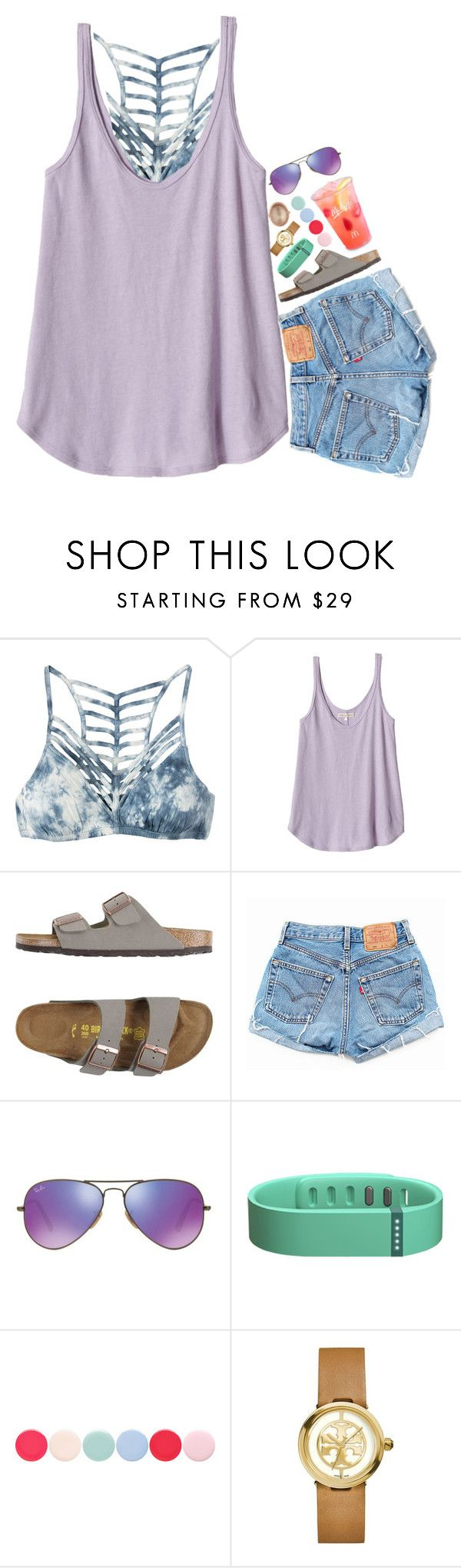 """""""birksssssss"""" by simply-lilyy ❤ liked on Polyvore featuring RVCA, Rebecca Taylor, Birkenstock, Levi's, Ray-Ban, Fitbit, Nails Inc., Tory Burch and Larkspur & Hawk"""