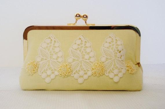 Pale Yellow Wedding Clutch / Bridal Bag / by PetiteVintageBags, $53.00