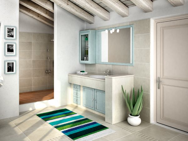 Cerasa, I Piastrellati: Composizione con frontali della collezione Paestum. Le basi sono completate da un mensolone a sbalzo, su cui è alloggiato un lavabo soprapiano in ceramica. #bagno #azzurro http://www.arredamento.it/articoli/articolo/bagno/2213/il-bagno-in-muratura.html