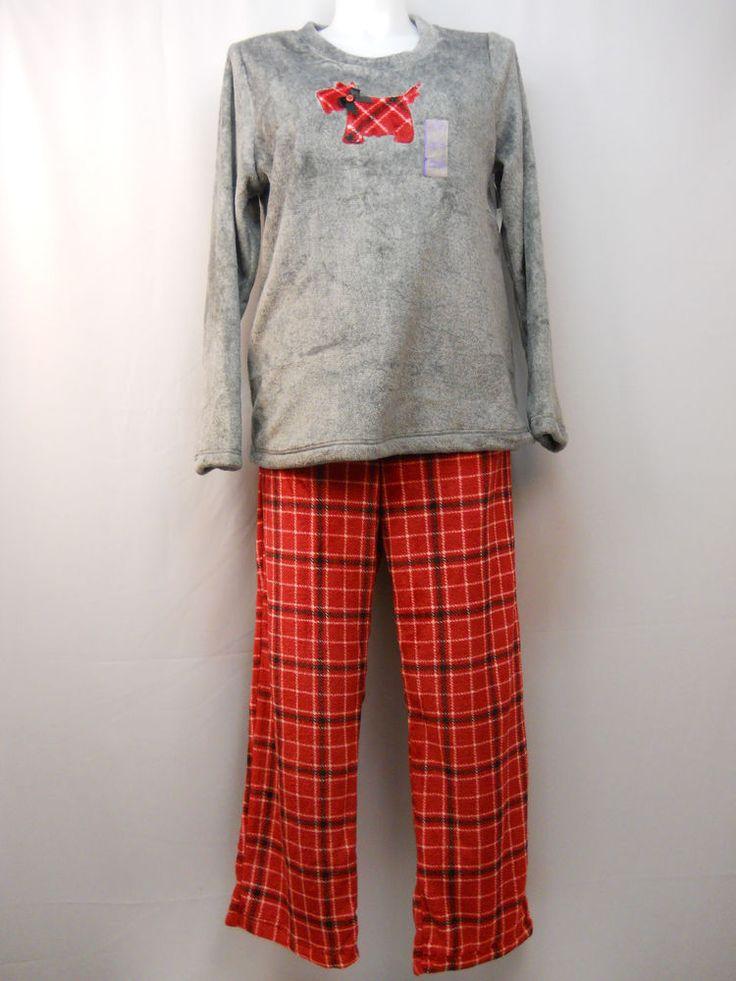 Ladies Pajama Set Plus Size 2X Fleece Top & Pants Plaid Scottie Dog Applique #Unbranded #PajamaSets