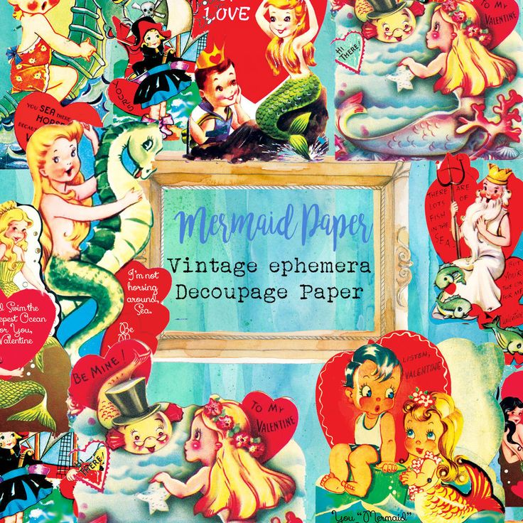 Vintage Mermaid paper Die-Cut,Vintage ephemera Paper,Scrapbook Decoupage in Crafts, Scrapbooking & Paper Crafts, Scrapbooking | eBay!