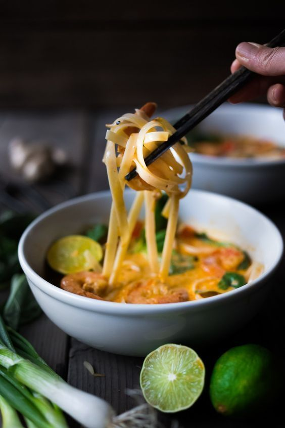 Fast and flavorful, this 15 Minute Northern Style, Thai Coconut Noodle Soup called, Khao Soi is so easy to make! A rich fragrant broth w/ either shrimp, tofu or chicken. | www.feastingathom...