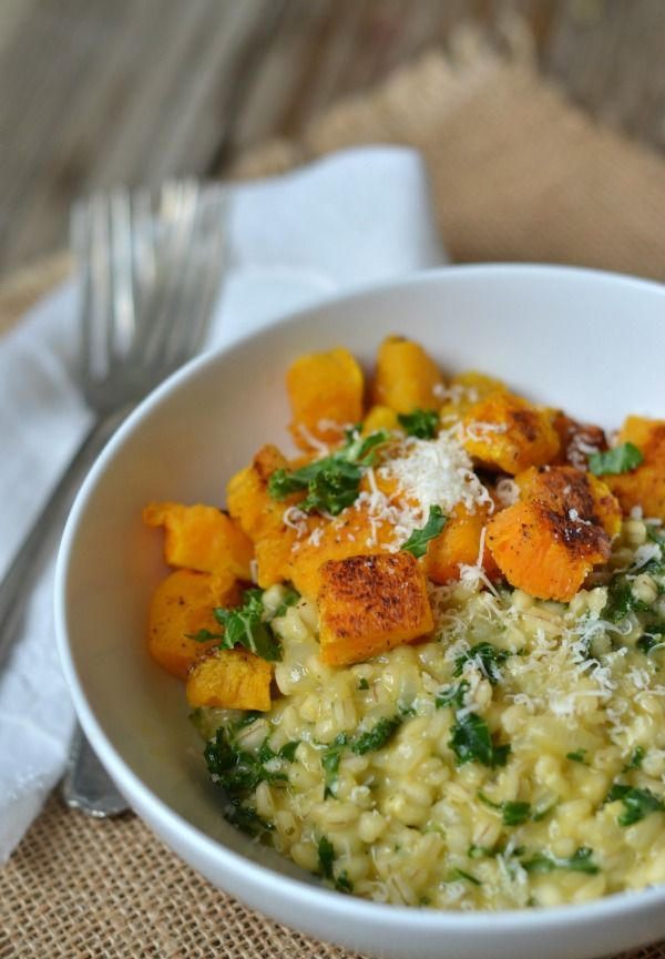 Barley Risotto with Kale and Butternut Squash