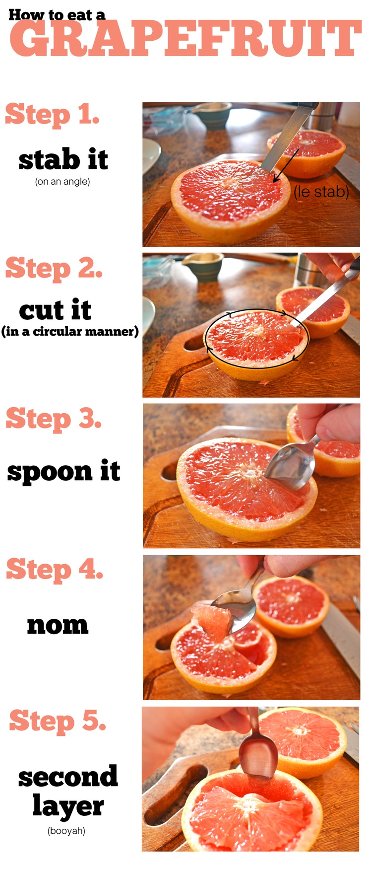 Apparently Denise doesn't like getting sprayed at lunch lol!! How to eat a grapefruit - for dummies