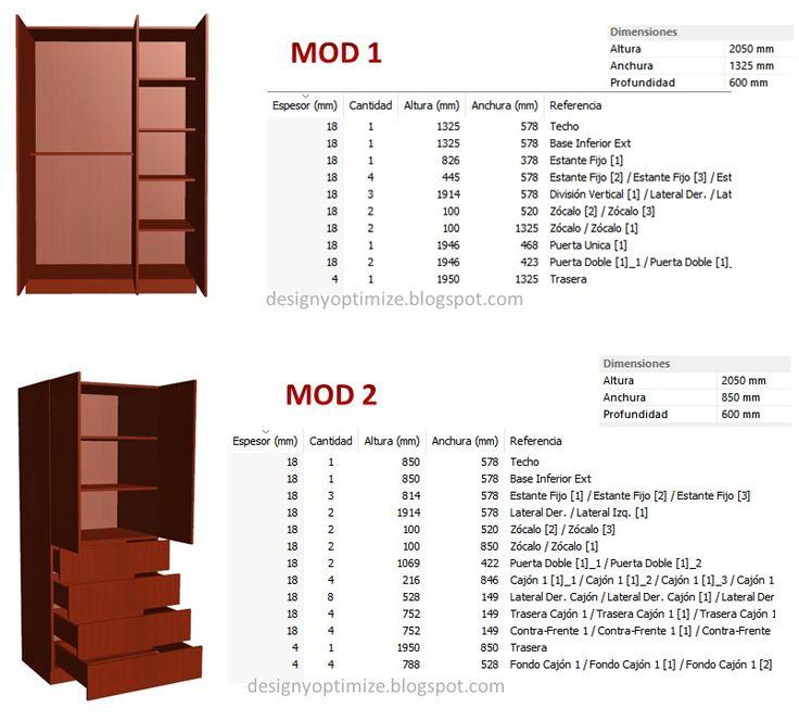 Diseño De Muebles Madera: Fabricación de Closet 3.5 metros | Planos | Lista de Piezas