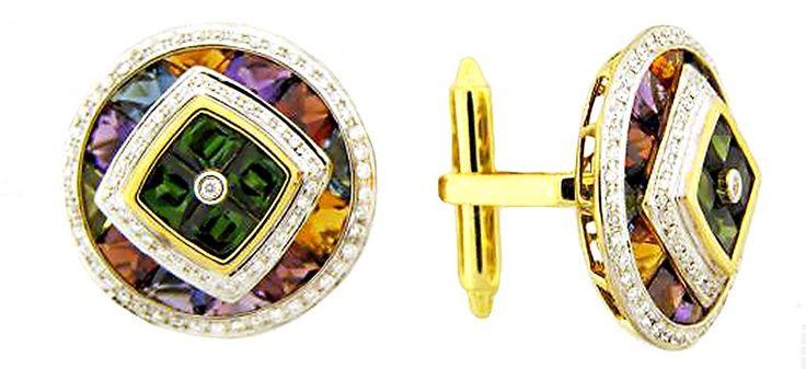 Round-shape cufflinks in 14k gold with 9.45 cts. t.w. blue topaz, amethyst, rhodolite garnet, green tourmaline, and citrine and 0.56 ct. t.w. diamonds, $7,880