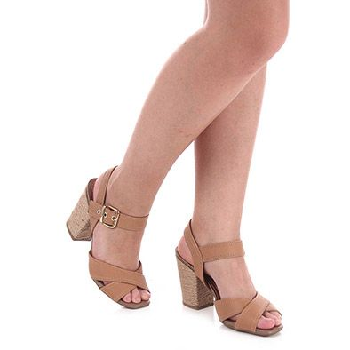 Sandália Salto Conforto Feminina Usaflex - Caramelo