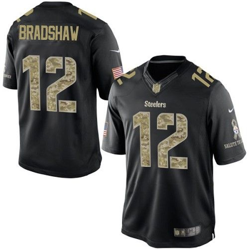 terry bradshaw mens elite black jersey nike nfl pittsburgh steelers salute to service 12