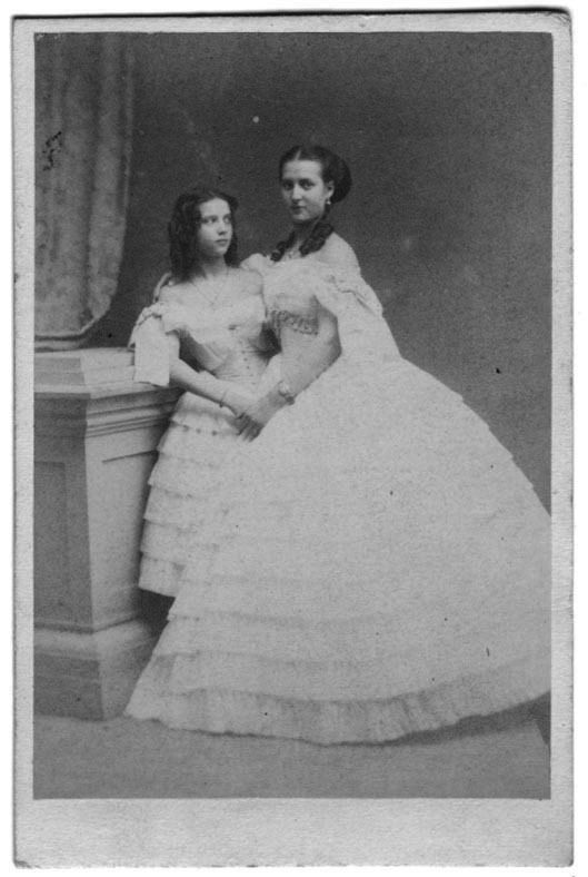 Alexandra of Denmark with her younger sister Dagmar. Alexandra would become Queen Alexandra of Britain and Dagmar, future Empress of Russia, Marie Feodorovna.