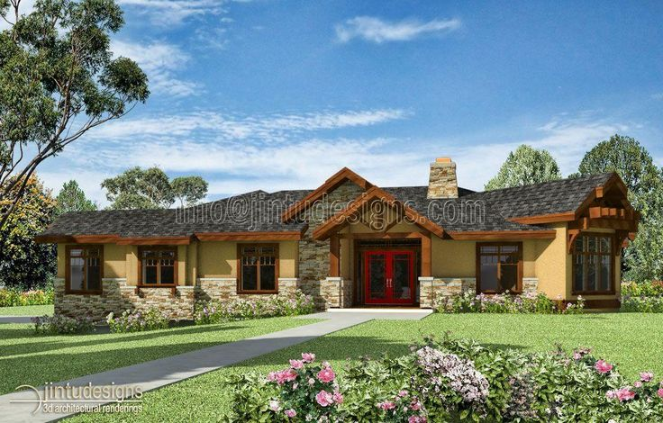 Stone and brick ranch style homes house plans and home for Stucco styles