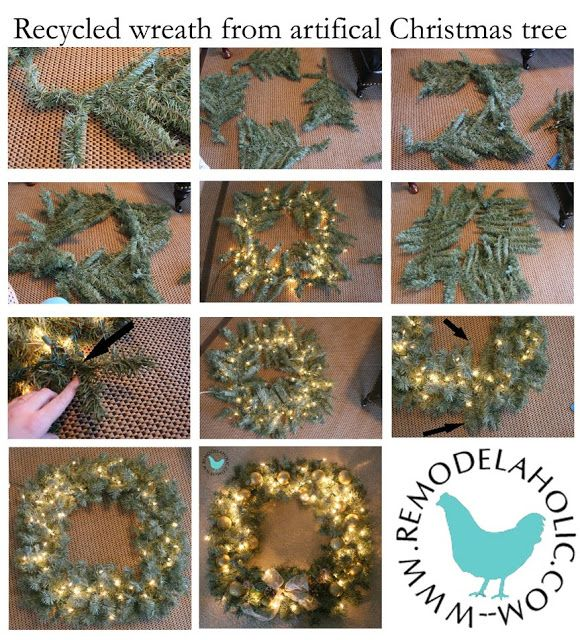 "Yesterday I posted the first ""re-use"" idea for our old rundown artificial Christmas trees, a snowflake.  Here is the second idea, a square wreath: I feel like the bow is a little small, but I just used some left over ribbon and that was all I had of it. Here are the step by step instructions: …"