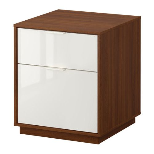 NYVOLL Chest with 2 drawers - medium brown/white  - IKEA