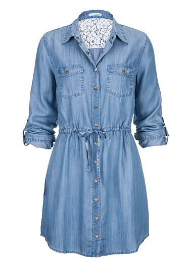 tie waist long denim shirt dress (original price, $44) available at #Maurices