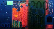 Billet de 200euros sous lumière UV (Recto)