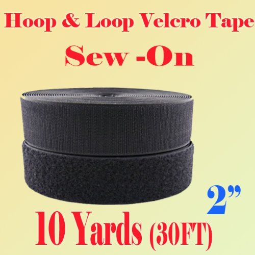 "2"" (Inch) Width Black or White Sew on Hook & Loop - Premium Grade Non-adhesive Sew-on Style Sold Includes Hook and Loop Both Strips Interlocking Tape Sold By 5, 10, 27 Yards (Black - 10 yards) Display Sign Mart http://www.amazon.com/dp/B00DOMRS3I/ref=cm_sw_r_pi_dp_zdFBub03TTVM1"