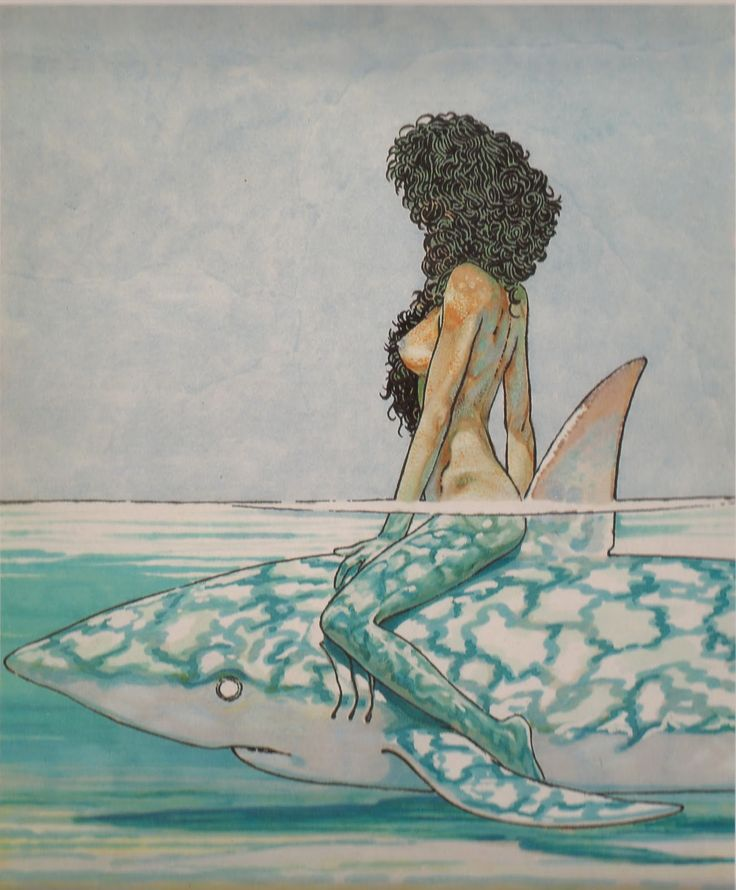 Betta on the shark, by Andea Pazienza (1965 - 1988). One of the best cartoonists in the world.