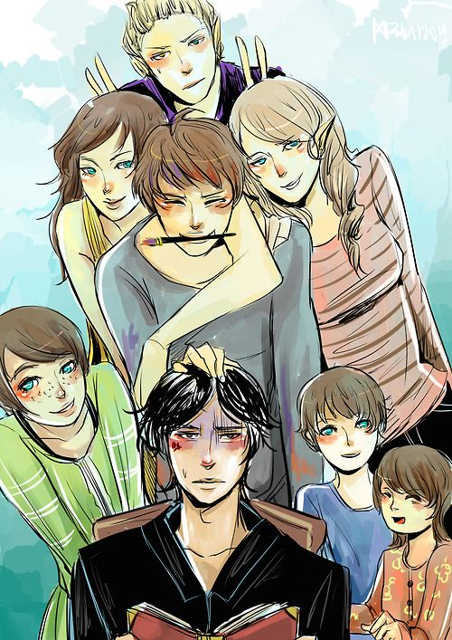 Blackthorn siblings (from the top): Mark Anthony, Livia, Jules,  Helen, Drusilla, Tiberius, Octavius and Ariadne!