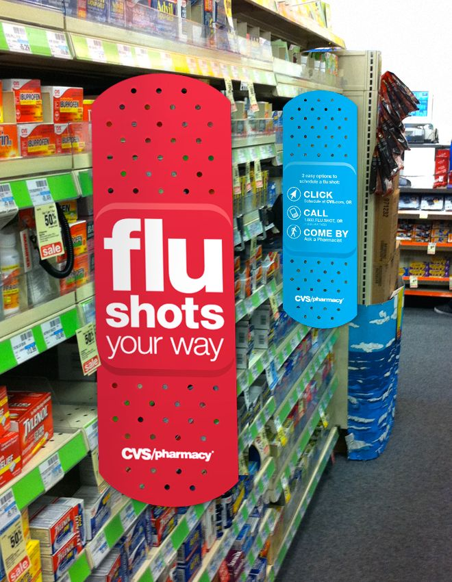 This in-store signage (at CVS) is interruptive very clear and simple with a strong call to action and on-brand. #Signage #Retail #Design