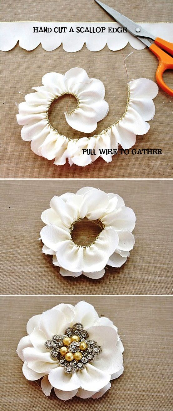 Wired Ribbon Flower- Cut scalloped edge on one side, cutting off the wire. Pull wire on the opposite side to gather into desired shape and sew. Embellish center with button or beads.