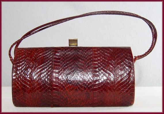 Vintage 1940s 1950s deep red snakeskin box purse  by ForeverSexy, $35.00