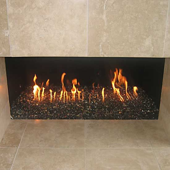 We will be updating our fireplace to use glass rocks rather than logs. Our  outdoor