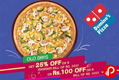 Domino's Pizza brings what a Wednesday offer #OLODays Get 25% off on a minimum bill of Rs.350 or Rs.100 off on a bill of Rs.400, on online ordering today. #Spicy #Loaded #Cheesy #Herby #BollywoodMaaCheesyDialogues 25% off Coupon code – TMP25 Rs.100 off Coupon code – WBZ100  http://www.paisebachaoindia.com/get-25-off-on-350-and-100-off-on-400-what-a-wednesday-offer-dominos-pizza/