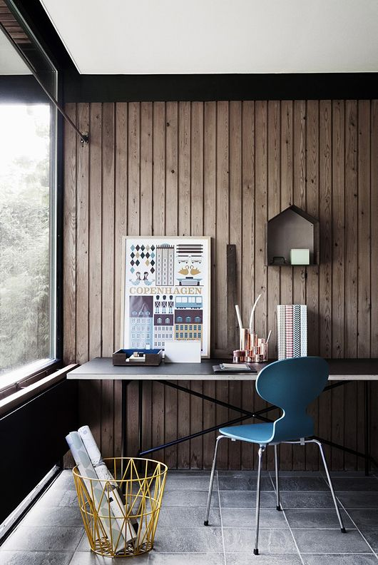 Blue chair, wood wall, big window #workspace #desk