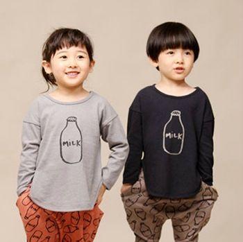 Gratis verzending, lente herfst, kinderen kleding, baby meisje jongen kinderen t-shirt, meisjes jongens shirts, t- shirt, melk, korean, toevallige, mode,