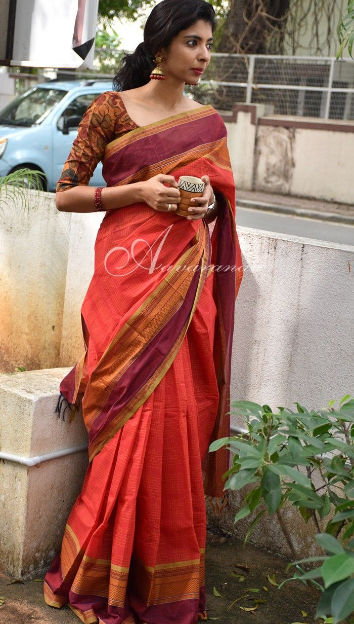 """""""Orange kanchi cotton #Saree - the Kanchi silks and cottons are to die for. A small town in India, Kanchi is famous for its looms from centuries. You can go crazy shopping there!"""""""