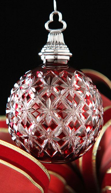 Waterford Crystal Ruby Cased Ball Christmas Ornament.......