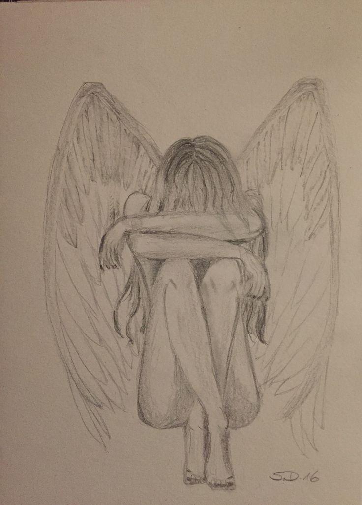 Engel Bleistift Zeichnung – Janine