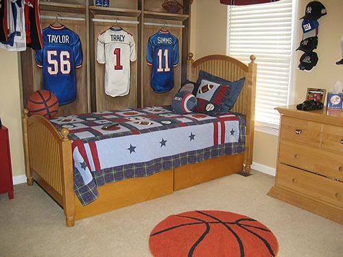 Sports Kids Room Decor With Locker Basket Ball Beside Bed Frame And Sport Rugs