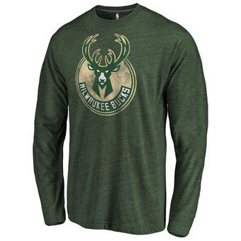 Men's Milwaukee Bucks Fanatics Branded Hunter Green Distressed Logo Tri-Blend Long Sleeve T-Shirt