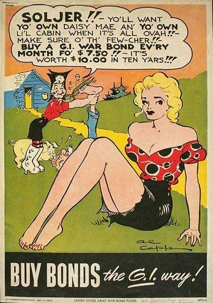 WW2 Li'l Abner comic strip poster, drawn by Al Capp, encouraging buying war bonds.