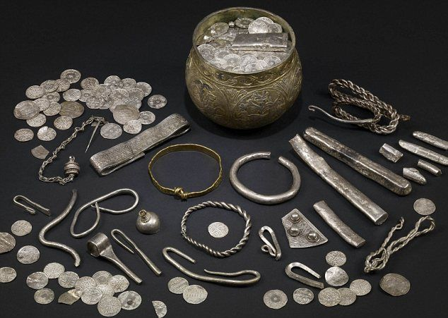 Viking Silver jewelry: The highlight of the collection is an intricately carved silver cup, estimated to be worth more than £200,000. It contains 617coins and various silver fragments, ingots and rings. Some of the pieces were from as far away as Afghanistan. The treasure is believed to have belonged to a rich Viking who buried it during the unrest following the conquest of the Viking kingdom of Northumbria in 927 by the Anglo-Saxon king Athelstan. The hoard was purchased by 2 British…