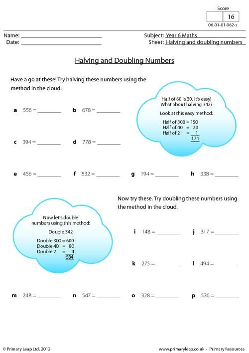 halving and doubling numbers worksheet maths printable worksheets. Black Bedroom Furniture Sets. Home Design Ideas