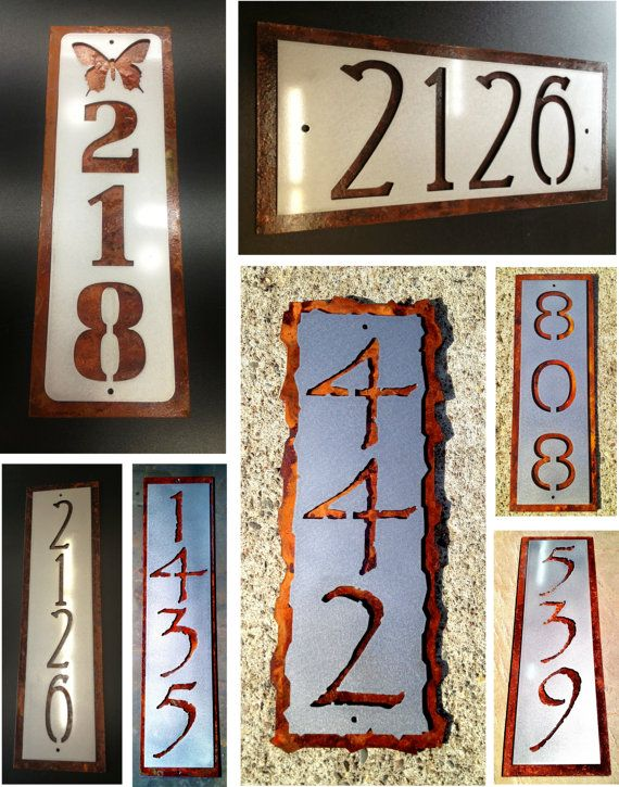 Custom rusted steel house number address plaque. by Rancidmetals, $55.00