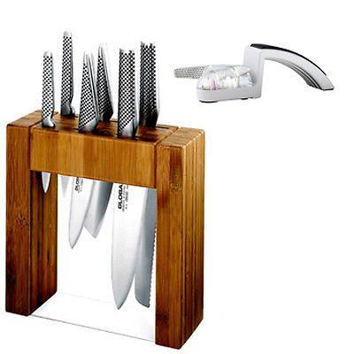 Japanese Set Knives IKASU GLOBAL PLUS Mino SHARPENER Knife Block Set **BNIB furi