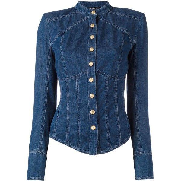 Balmain Collarless Denim Shirt (62,370 PHP) ❤ liked on Polyvore featuring tops, shirts, balmain, denim, jackets, blue, long sleeve tops, collarless shirt, blue long sleeve shirt and blue top