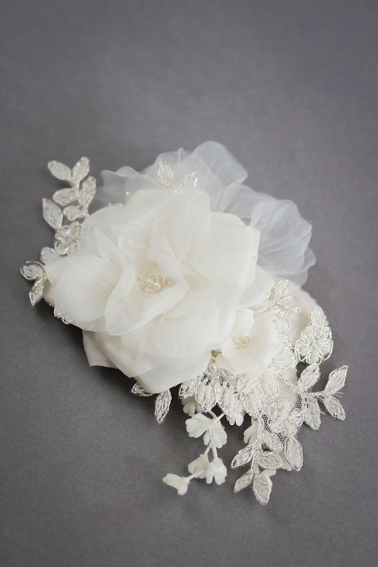 LILY lace bridal headpiece ivory by Percy Handmade