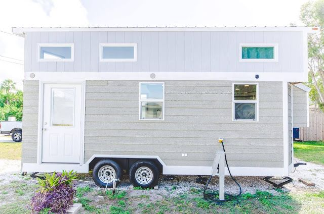 A 20 ft long tiny house, named Amy, at the Go Siesta beach resort in Sarasota, Florida. The home has 200 sq ft o space and can comfortably accomadate up to three people.