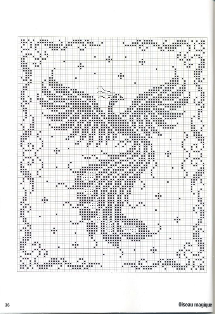 Phoenix rising:  This pattern is good for filet crochet or net weaving or cross stitch