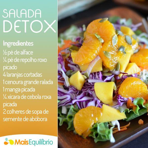 Salada detox para refrescar a seu dia! Veja outras opções de salada aqui: http://maisequilibrio.com.br/receitas-de-saladas-2-22-e.html