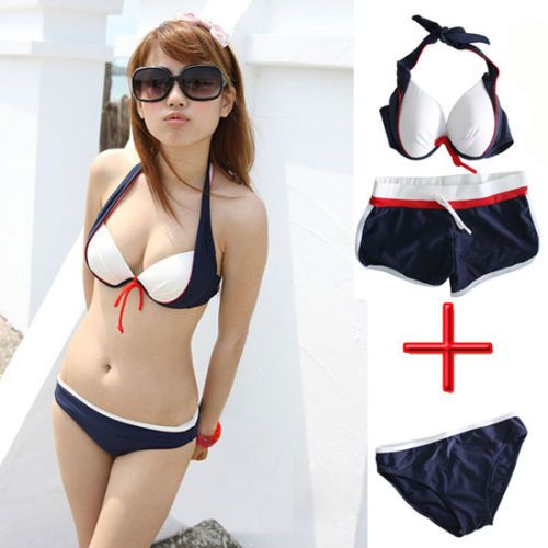 3Pcs 1 Set Womens Bikini Push Up Boxer Monokini Padded Bathing Swimwear Swimsuit