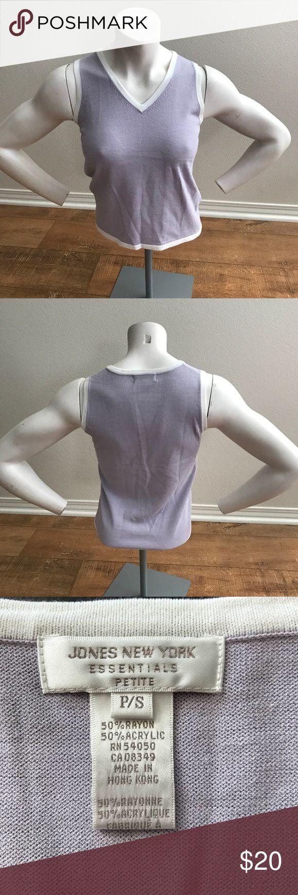 Women's V Neck Sleeveless Sweater Beautiful pre owned Jones New York Purple and white V Neck Sleeveless Sweater like new size petite small Sweaters V-Necks