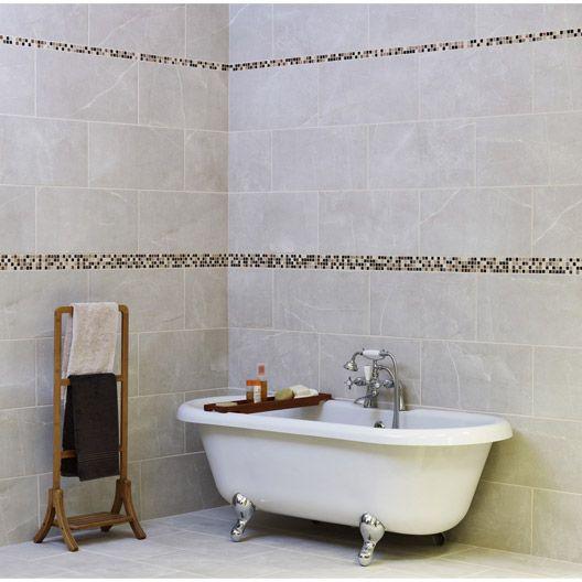 Carrelage mural colys e artens en fa ence gris 30 x 60 for Faience salle de bain bleu turquoise