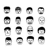 People face cartoon icon — Stock Vector