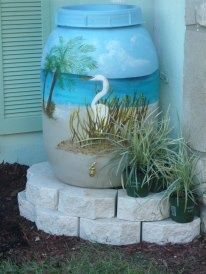 """(Pb) Garden: Let it Rain! on Pinterest   @djohnisee ~ PIC: The Garden Maiden says """"this rain barrel is so beautiful I want to cry!"""" I am inspired. Hope the paint holds! ~ NOTE: Krylon Fusion for Plastic® Rust-oleum or Valspar plastic paint / primer ~ are some of the best products to use when spray painting plastic."""